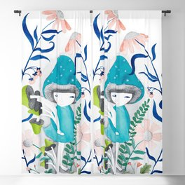 blue mushroom with flowers watercolor illustration Blackout Curtain