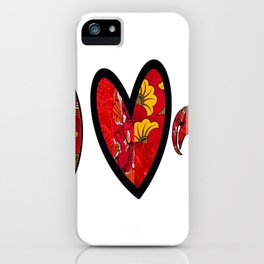 Red & Yellow Peace Love and Crawfish Design iPhone Case