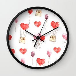 love in the air  watercolor pattern wit hearts, balloons Wall Clock