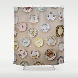 Cottage vintage plates Shower Curtain