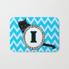 Letter I Cat Monogram Bath Mat