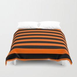 Black & Orange Stripes Duvet Cover