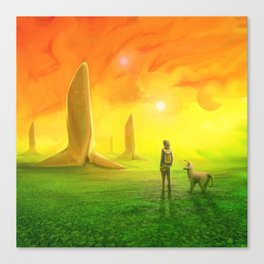 Contemplating an orange world Canvas Print