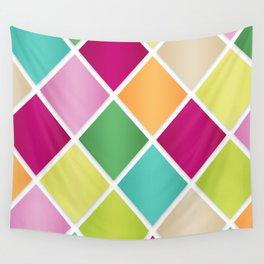 Modern Diamond Geometric Pattern Design // Pink Orange Green Blue Wall Tapestry