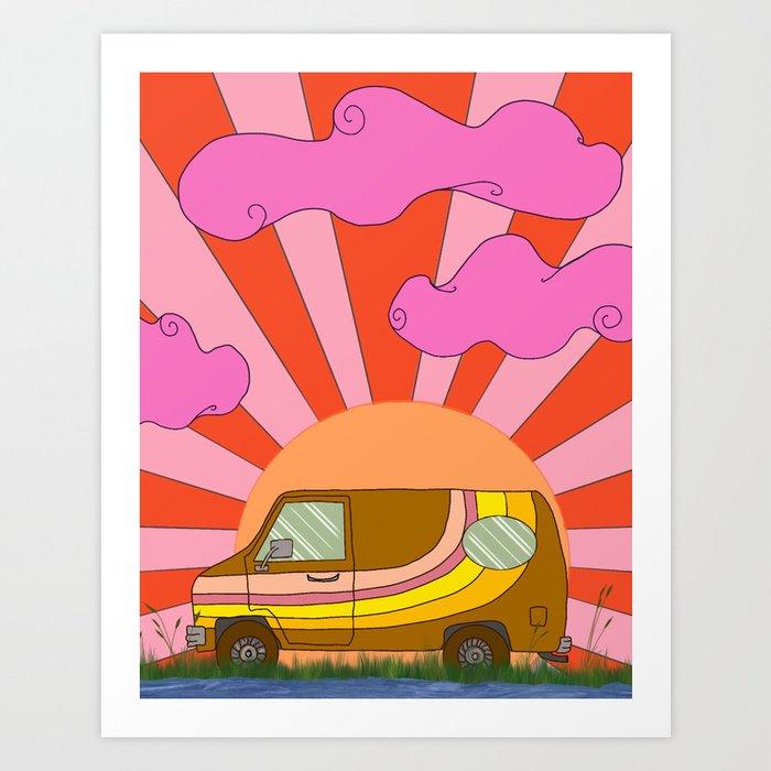 Van Life Hippie Art Print, Hippie Van, Wall Art Bohemian, Boho Wall  Hanging, Boho Wall Decor Bedroom Art Print by debbiedrawsfunny