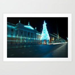 Christmas light trails Art Print