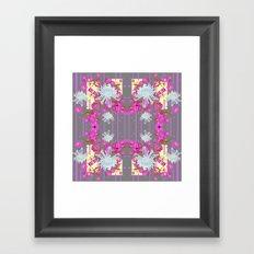 Pink Flowers White Mums Grey Color Garden Art Framed Art Print