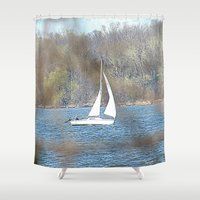sailboat Shower Curtains featuring sailboat by Laura Grove