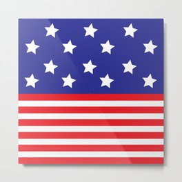 Blue , White and Red Patriotic Stars and Stripes Metal Print