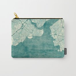 Istanbul Map Blue Vintage Carry-All Pouch