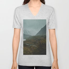 Hiking Around the Mountains & Valleys of New Zealand Unisex V-Neck