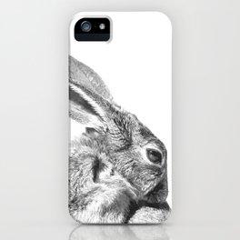 Black and white rabbit iPhone Case