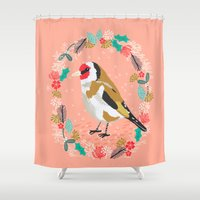European goldfinch by Andrea Lauren  Shower Curtain