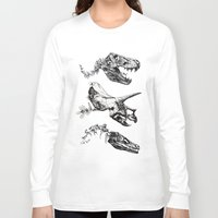 trex Long Sleeve T-shirts featuring Jurassic Bloom - Black version. by Sinpiggyhead