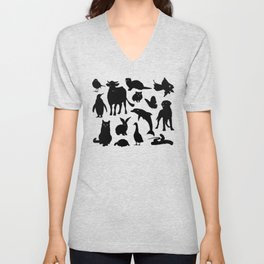 ANIMALS PATTERN Black Silhouette Pet Animal Cool Style Unisex V-Neck