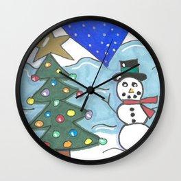 Snowman and Tree Wall Clock