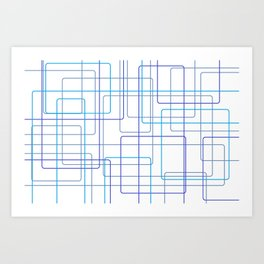 Blue Line Pattern Art Print