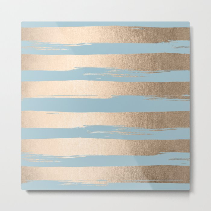 Painted Stripes Gold Tropical Ocean Sea Blue Metal Print