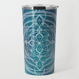 White Mandala - Dusky Blue/Turquoise Travel Mug