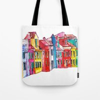 italy Tote Bags featuring Italy by Dheiuk