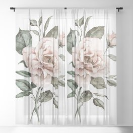 Faded Pink Rose Sheer Curtain