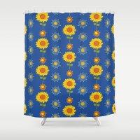 ukraine Shower Curtains featuring Sunflowers of Ukraine by rusanovska