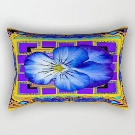 Blue Pansy In Gold & Purple Geometric Pattern Rectangular Pillow