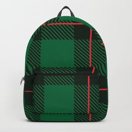 Green, black & red plaid pattern Backpack