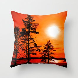 Sunset Long Beach Tofino Vancouver Island Canada Throw Pillow