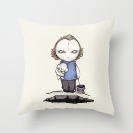 PUT THE PLUSHING LOTION IN THE PLUSHING BASKET Throw Pillow
