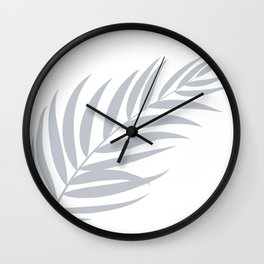 Light Pastel Gray White Coastal Frond Palm leaf Wall Clock