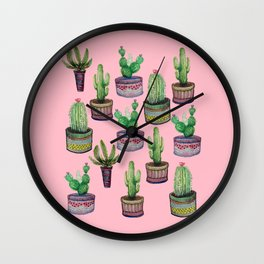 Pocket Cactus on Pink Wall Clock