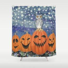Halloween owl & pumpkins Shower Curtain