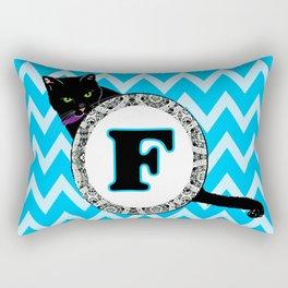 Letter F Cat Monogram Rectangular Pillow
