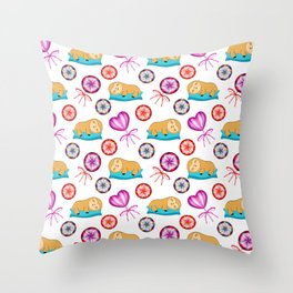 Funny happy sleeping lazy baby sloths, sweet vintage retro lollipops candy nursery pattern design Throw Pillow
