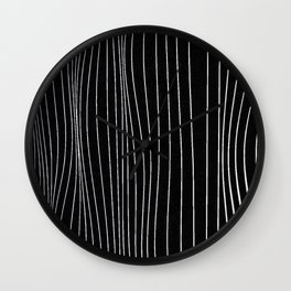 Strings, white lines on black pattern Wall Clock