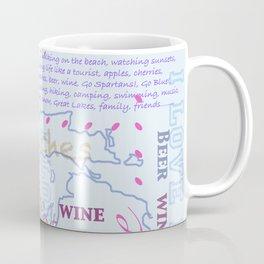 I Love Michigan Typography Coffee Mug