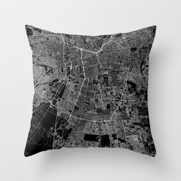 Santiago Black Map Throw Pillow