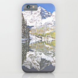 Maroon Bells Reflection, Stylized iPhone Case