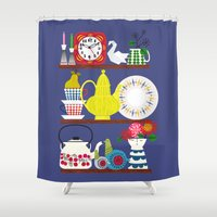 scandinavian Shower Curtains featuring Scandinavian Shelf Collectibles by Elisandra