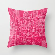 London! Hot Pink Throw Pillow