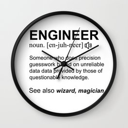 Engineer Definition White Text Design Wall Clock