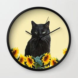 SNOKI - Black Cat between Sunflower Blossoms Wall Clock