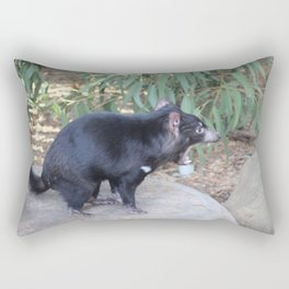 Tasmanian Devil asserting dominance on a rock Rectangular Pillow