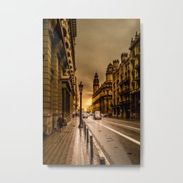 Sunset in Via Laietana Metal Print