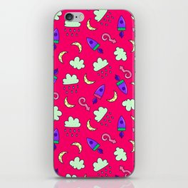 Doddles spacecrafts clouds and moon in pink space pattern iPhone Skin