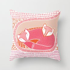 Sleepy Happy Foxes Throw Pillow