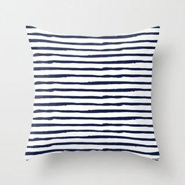 Navy Blue Stripes on White Throw Pillow
