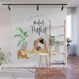 Girl Power & Cat - Yoga Practice Wall Mural