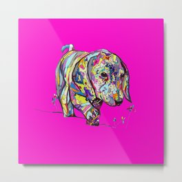 Dapple Painting with Neon Pink Background Metal Print